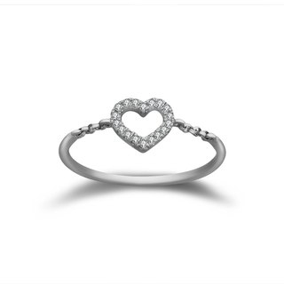 18K WHITE GOLD PETITE HEART DIAMOND RING