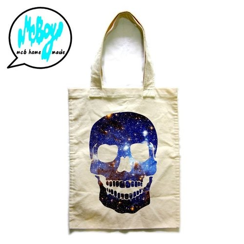 Galaxy Skull Tote Bag