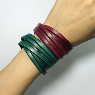 Handmade genuine leather bracelet classic classic series - noble fuchsia