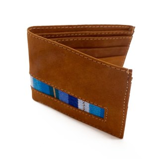 LEATHER & MAYAN EMBROIDERY POCKET WALLET