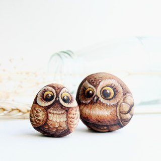 Owl stone painting