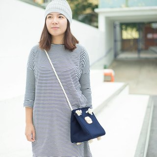 Cotton canvas square bucket bag (Navy Color)
