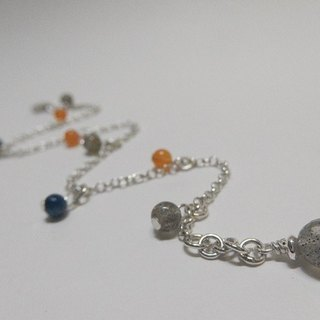 Jumping rhythm - Natural Labradorite + Orange Chalcedony + Albacetti Sterling Silver Anklet. Hong Kong original design