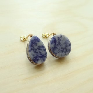 Sodlite Flat Teardrop / Button Shape Brass Wire Wrapped Stud Earrings