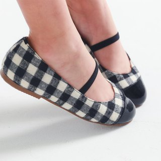 Taiwanese plaid patent leather girls' doll shoes - black and white
