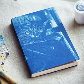 Handmade cyanotype notebook - Cat series - siesta