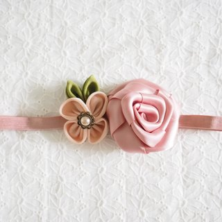 Handmade Elastic Headband with ribbon rose