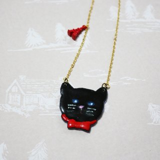 Enamel black meow long chain