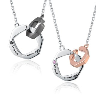 Hong Kong Design Bling Bling 925 Silver Platinum Plated Couples necklace (My Love) Kit
