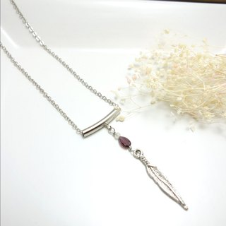 Pomegranate dot Feather Necklace ◎ stainless steel thin chain