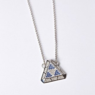 geometric geometric designs series - Swarovski white blue diamond necklace three-dimensional triangle
