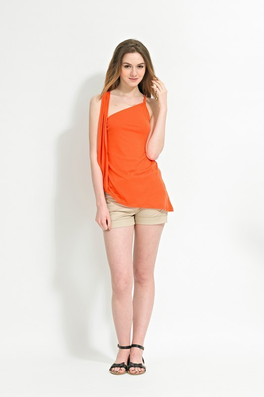 Orange Strap Top Asymmetric Style