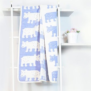 Warm blanket / baby blanket / month indemnity ceremony ► Sweden Klippan organic cotton warm blanket - Bear (blue)