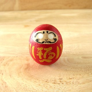 Daruma character on wooden rocking doll.Cute and durable wooden Roly-poly doll (Rocking doll) Handmade decorate your room. Present for your important person.