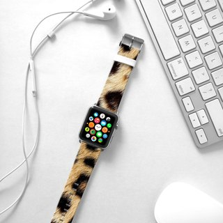Apple Watch Series 1 , Series 2, Series 3 - Brown Leopard Pattern Watch Strap Band for Apple Watch / Apple Watch Sport - 38 mm / 42 mm avilable