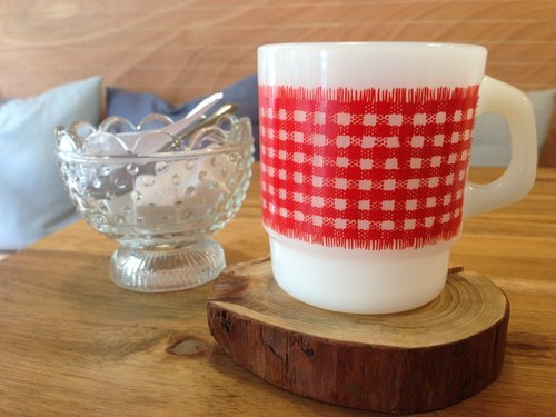 Fire King Stacking Mug Red Plaid Mug