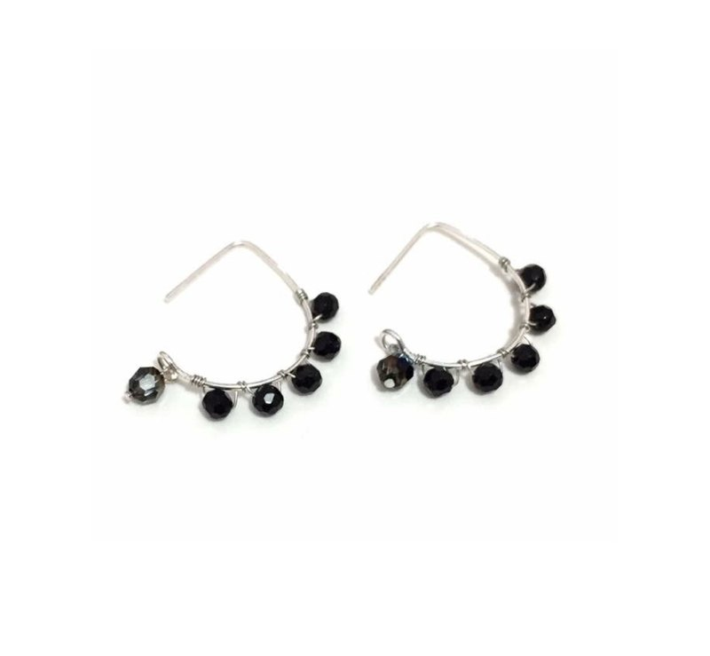 Simple Crystal Earrings in Black
