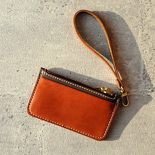 [DOZI leather hand-made] hand leisure travel card purse positive and negative both sides can put the card attached leather rope leather dyeing can be made with free color sample for the tea with light brown tea
