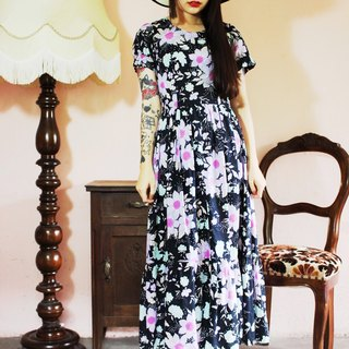 F1062 (Vintage) black purple flower cotton short-sleeved long version of vintage dress (wedding / picnic / party)