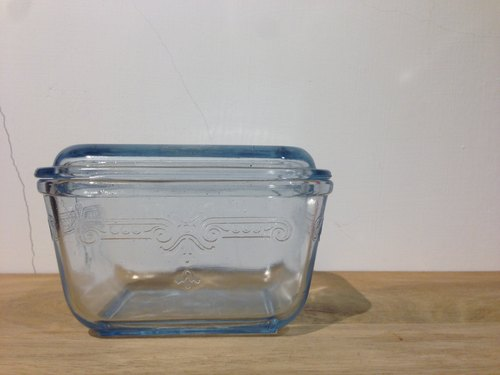 FIRE KING PHILBE SAPPHIRE BLUE glass food container with lid