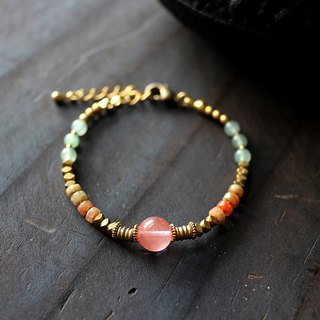 Muse natural wind series NO.182 pink redhead lapis bracelet brass Ruby Jade Greenstone DF