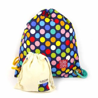 WaWu Drawstring backpack (Colorful blue dot fabric)