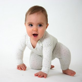 moi organic cotton children's long-sleeved white little package fart clothing White Print Body Suit Long
