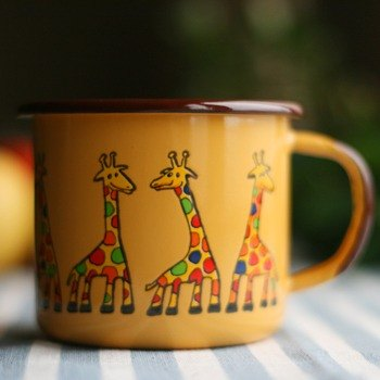 Smaltum Prague enamel cup Gator giraffe _ orange (350ml) <FDN000066>