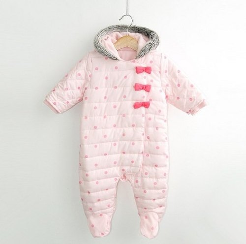 Polka Dot Bow baby girl pink cotton jumpsuit shop (for newborn / full moon ceremony)