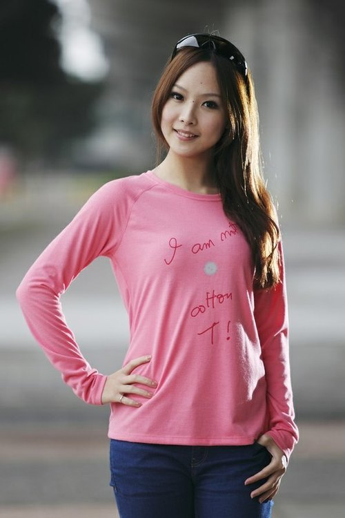 *Spring day comfort*[antibacterial cotton T-shirt Science and Technology] Xiao Heitan pink
