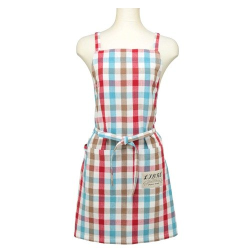 Libre brown blue and red plaid fabric aprons
