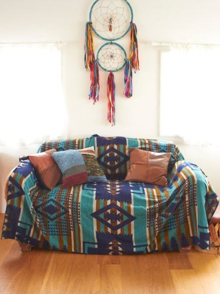 ☼saibaba ethnique // Indian totem bedspread / sofa cover ☼ (pink with blue)