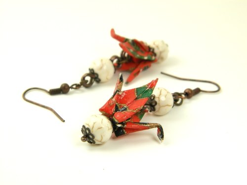 Earrings origami (Tsuru Y01BOT2LBr)
