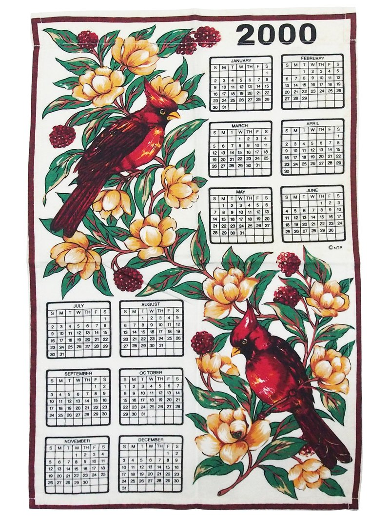 2000 American early cloth calendar flower bird