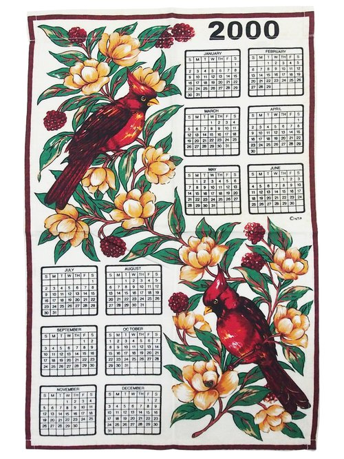 Early American calendar 2000 Fabric flower bird