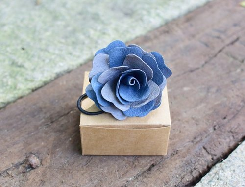 Handmade leather hair band leather hair band- color Rose family (blue and gray + light gray)