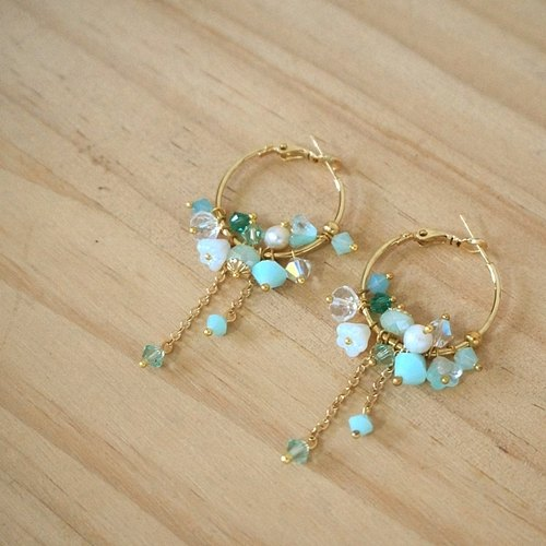 {KPC0052} crystal flower earrings - Mint