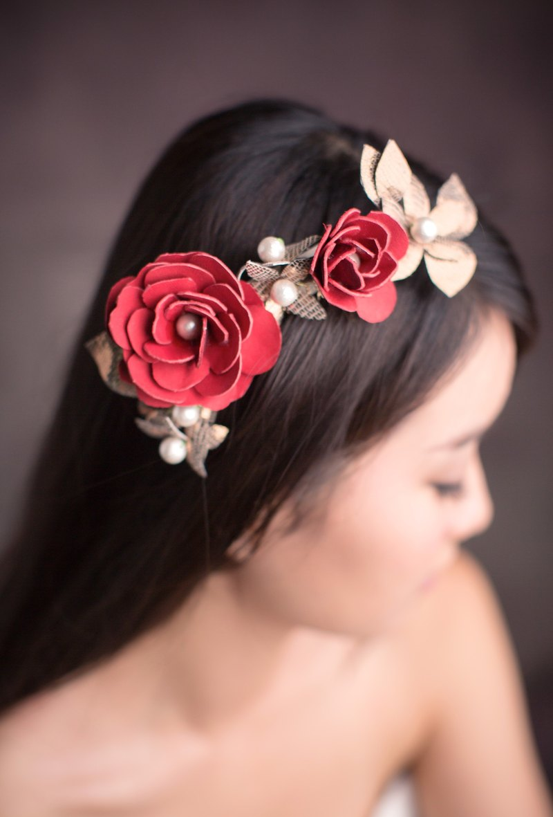 """Being of Love"" red + gold leather flower headdress / Bridal hairdresser comb / Evening Headdress"