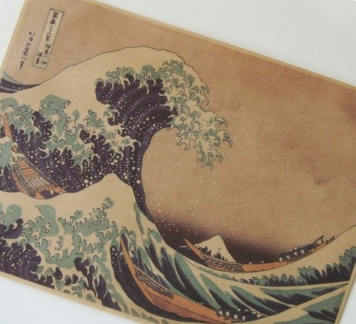 god leading [series] The Great Wave off Kanagawa Poster Japanese ukiyo-e posters nostalgic retro kraft paper decorative painting 53 * 38cm