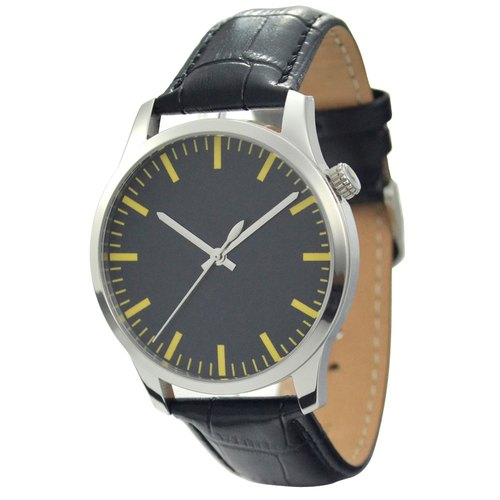 Men's simple black-faced watch thick stripes (yellow) - Global free transport