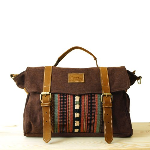 [Happa] Portable / hatchback dual-use messenger bags - hand-knotted kilim paragraph (Valentine Gifts) (Brown earth Brown)