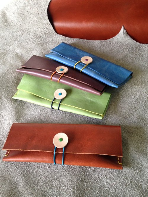 Eyed monster hand-sewn leather pouch _