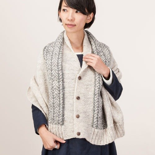 "Earth tree fair trade- ""scarves / shawls Series"" - hand-woven 100% wool shawl fir Ayaori multifunction 4WAY (light gray)"
