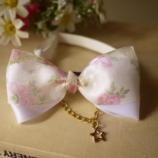 Safe pet collar x noble rose white cat dog / neckband / bow tie / tweet ♥ cherry pudding Cherry Pudding ♥