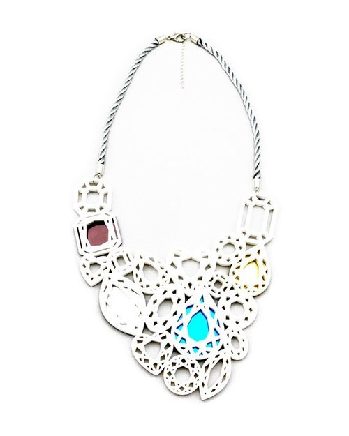 Diamonds Pendant Bib White Necklace