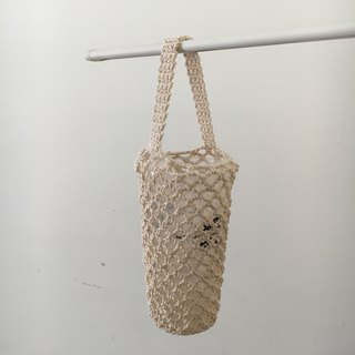 Bottled woven mesh bag, white