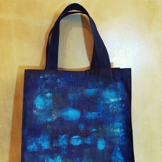 Acrylic painting blue shoulder bag imprint