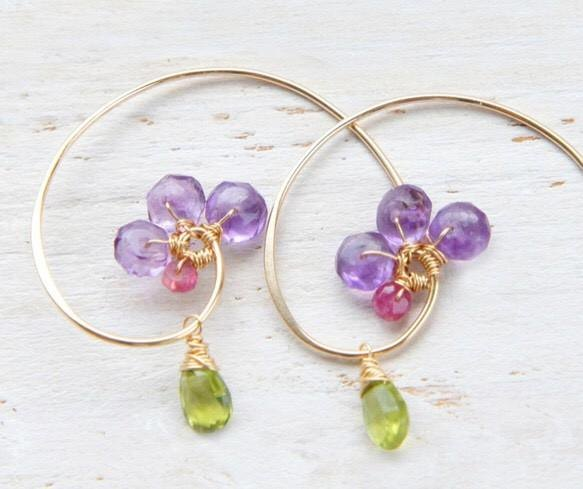 Amethyst flowers of hoop earrings 14kgf