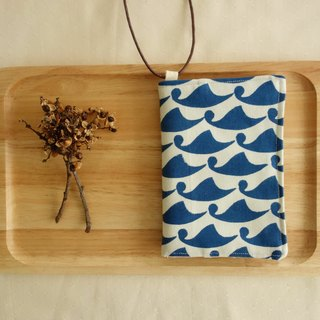 Kyoto fabric Passport Holder - waves (blue)