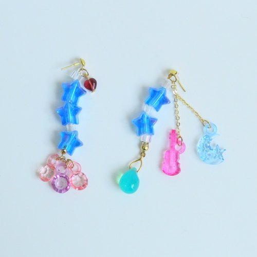 Jelly STAR | Exclusive blue transparent plastic guitar stars diamond earrings drop beads Czech Shibuya Japanese style